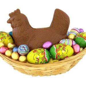 Chocolade kip in mand met eitjes